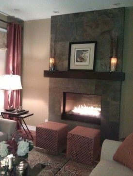 Living Room Decorating Ideas on a Budget - Gas Fireplace With Slate Design Ideas, Pictures, Remodel, and Decor