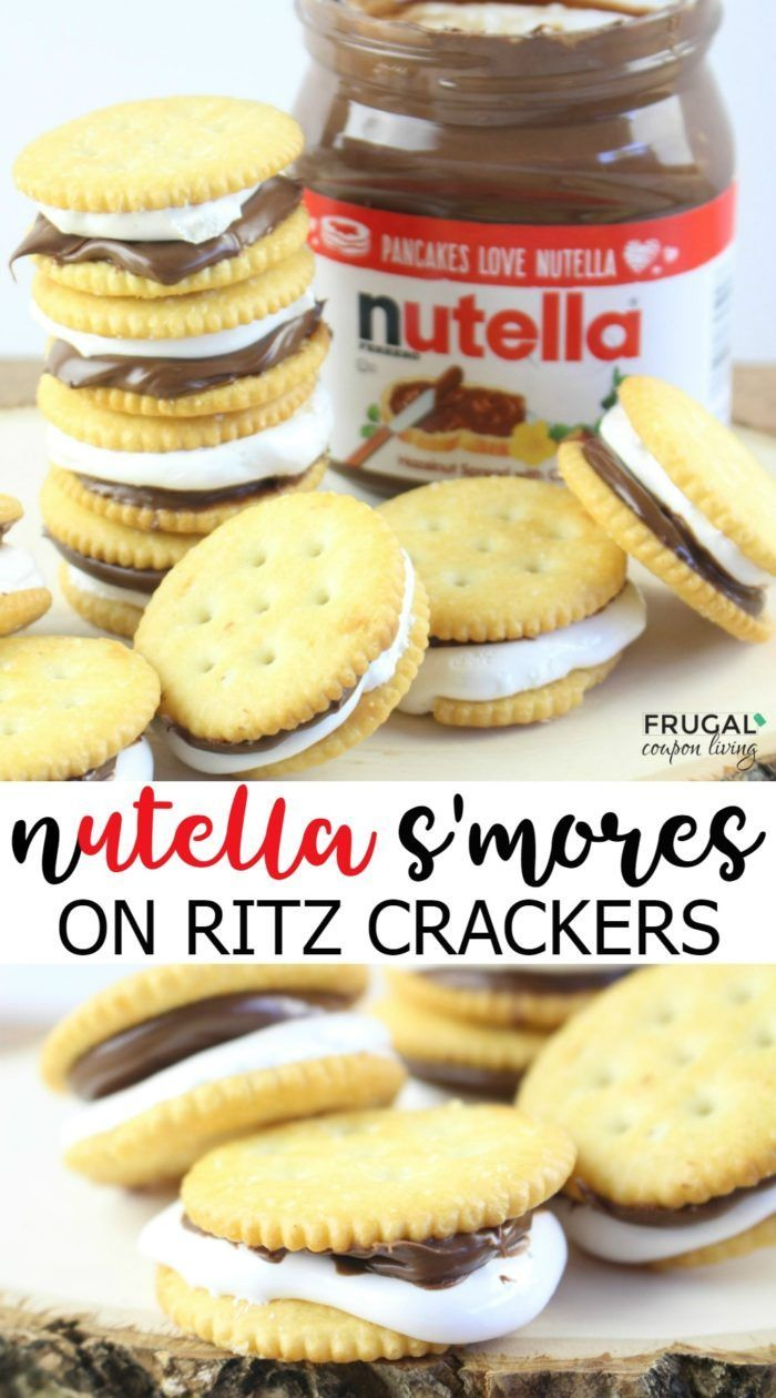 A twist on the traditional s'more recipe. Think outside your classic ingredients with this Ritz Nutella S'mores using marshmallow fluff on Frugal Coupon Living.
