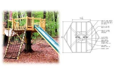 8' Hexagon Treehouse Plan | Standard Treehouse Plans & Attachment Hardware