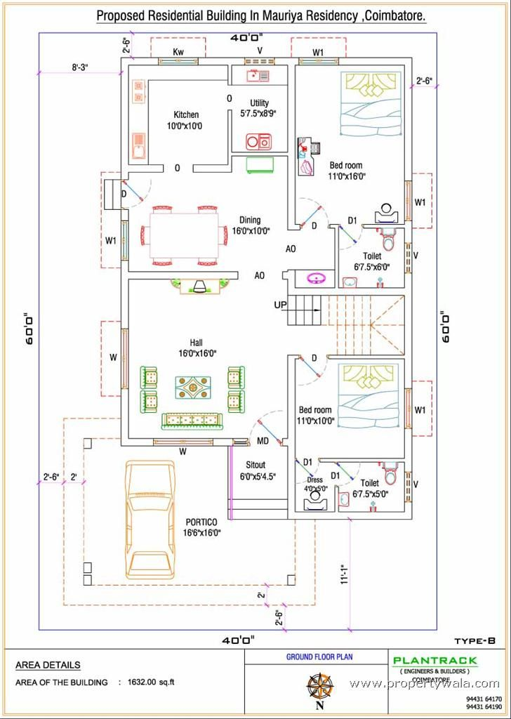 Tamilnadu house plans north facing 35x60 house plans