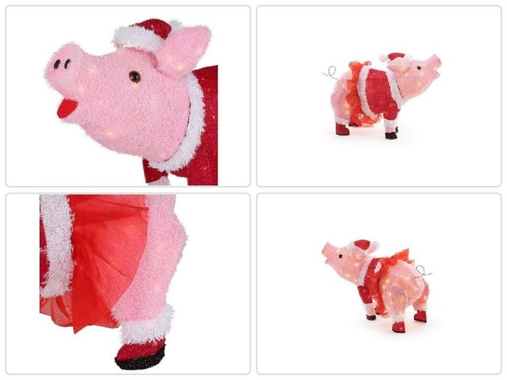 #Christmas #Holiday #Sculpture 32in. 120L LED Fuzzy #Pin #Pig with TUTU #Yard #decor