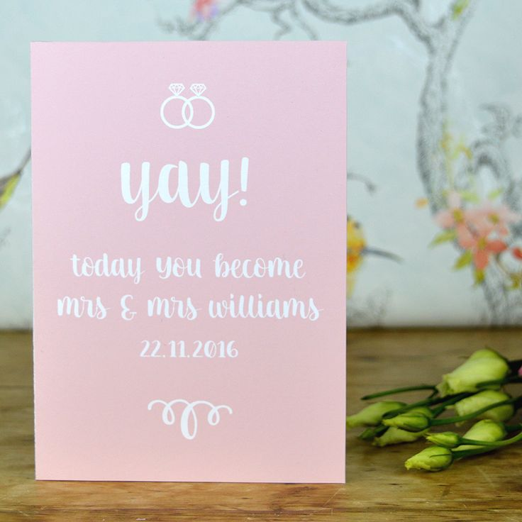 This Unique Same Sex Wedding Day Cards Personalised