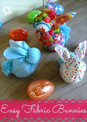 Fabric Bunnies Tutorial: This easy bunny craft is perfect for you and your kids to do together. These make great DIY Easter Decor pieces!