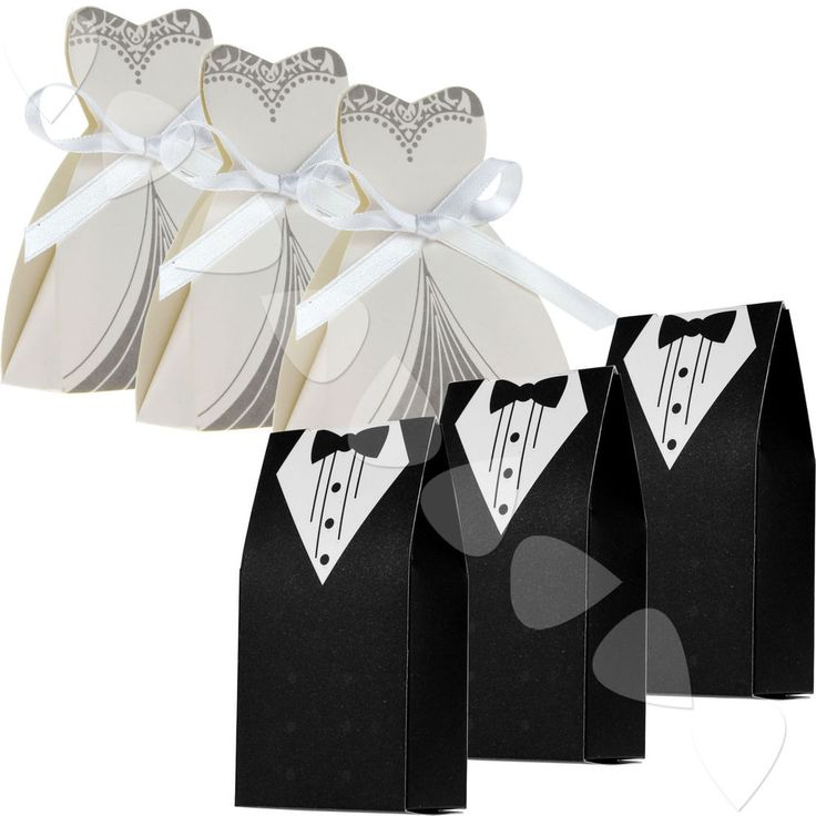 100+PCS+DRESS+&+TUXEDO+BRIDE+GROOM+WEDDING+FAVOR+RIBBON+CANDY+BOMBONIERE+BOXES