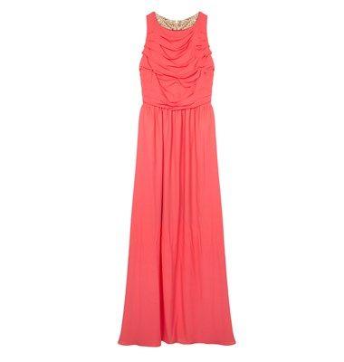 Chiffon maxi dress with draped effect
