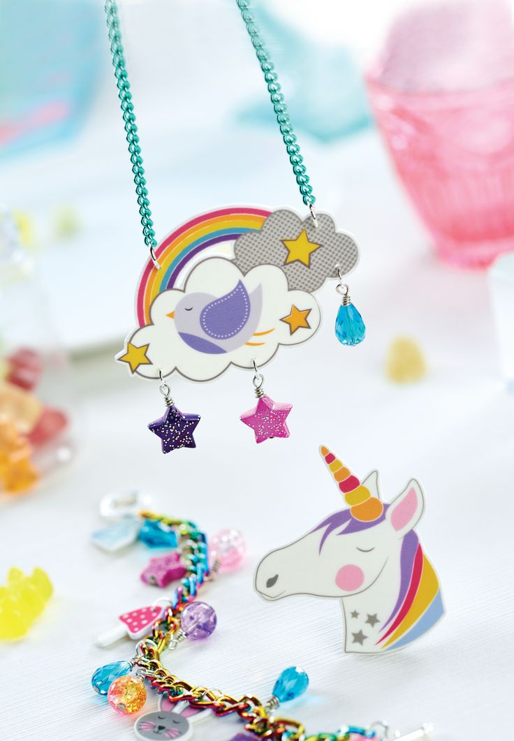 Print our whimsical motifs onto shrink plastic to create a young and fun jewellery set