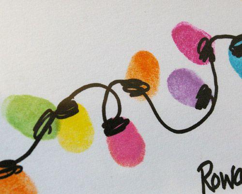 Christmas Card :: Thumb Print String of LightsChristmas Cards, Christmas Crafts, Prints String, Thumb Prints, Cute Ideas, Holiday Cards, Christmas Lights, Rowan Trees, Christmas Gift
