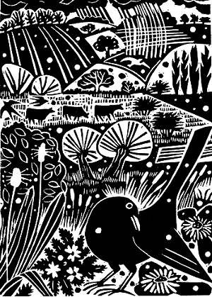 More John Clare inspired artwork. Carry Akroyd - John Clare Series Linocut illustration for The Wood is Sweet.