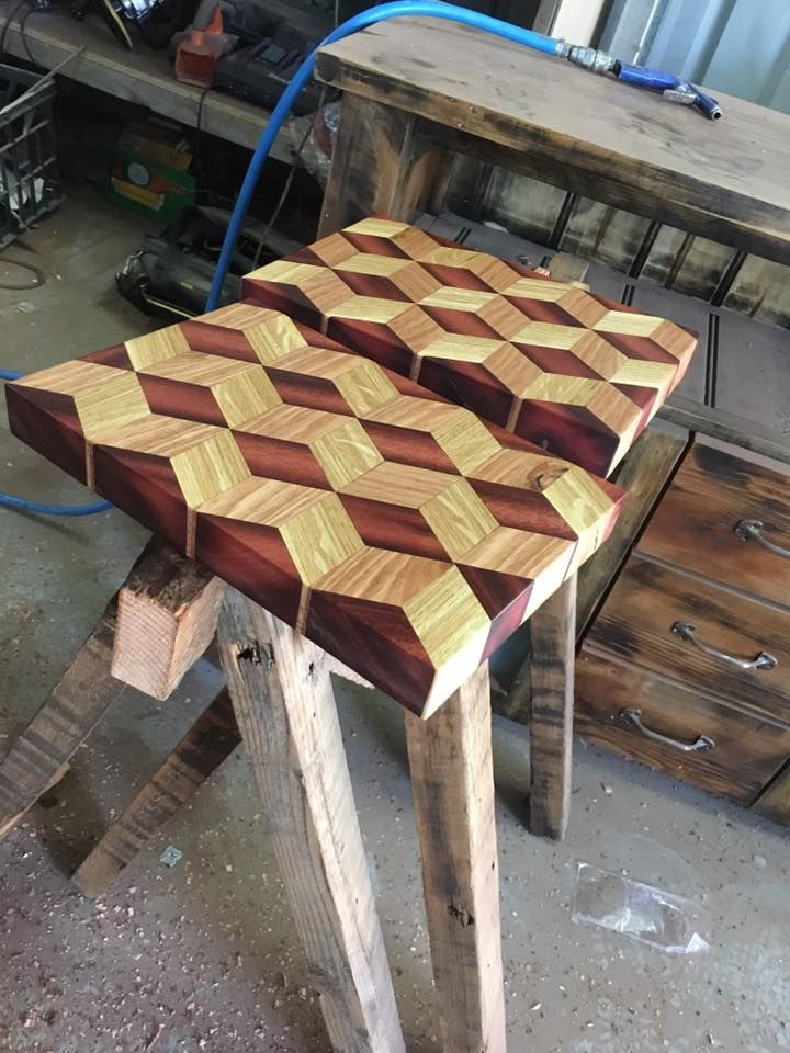 More 3D Chopping boards, these are Jarrah, Ash and White Oak.