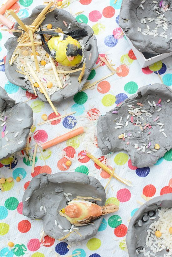 Make a Bird's Nest from Clay - easy art project for kids   contributed by Meri Cherry