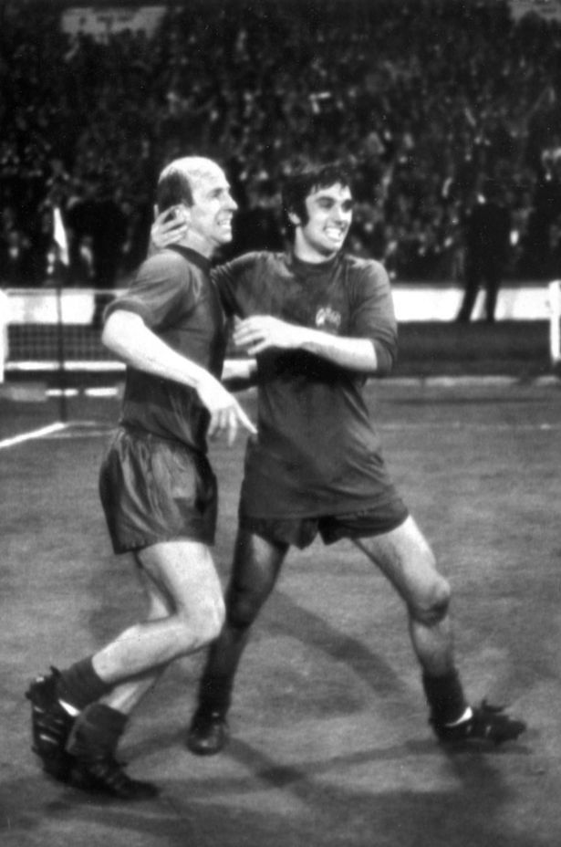 May 29 1968: Best and Bobby Charlton celebrate as United become kings of Europe, having beaten Benfica 4-1 at Wembley