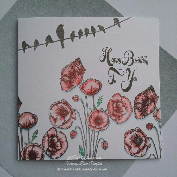 Poppies stamp set available from Honey Doo Crafts  #honeydoocrafts #poppies #flowers #dtsample #kuretakezig #stamps #stamping #card #creative #craft #ilovetocraft #creativity #karenzkardz