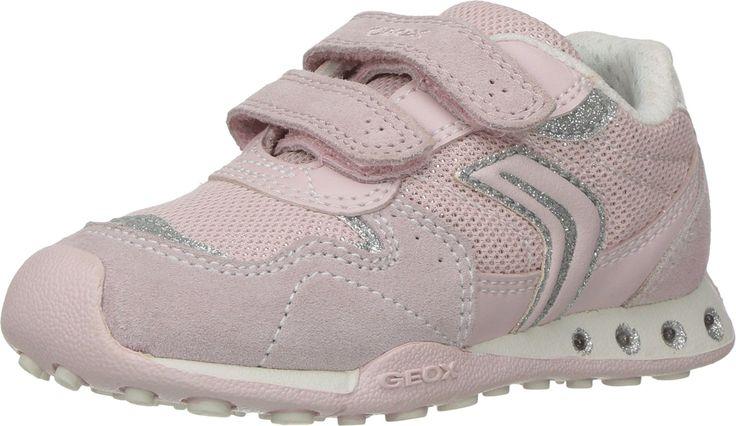 Geox Girls J New Jocker 39 Lighted velcro strap sneaker, LT ROSE, 28 EU/10.5 M US Little Kid