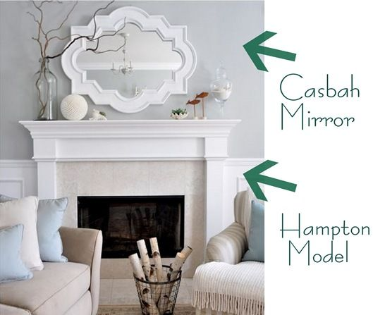 mantel from Mantels Direct through a local dealer and pretty sure it's the Hampton Model.  mirror is from lamps plus she painted it gloss white -wall color Benjamin Moore Tranquility