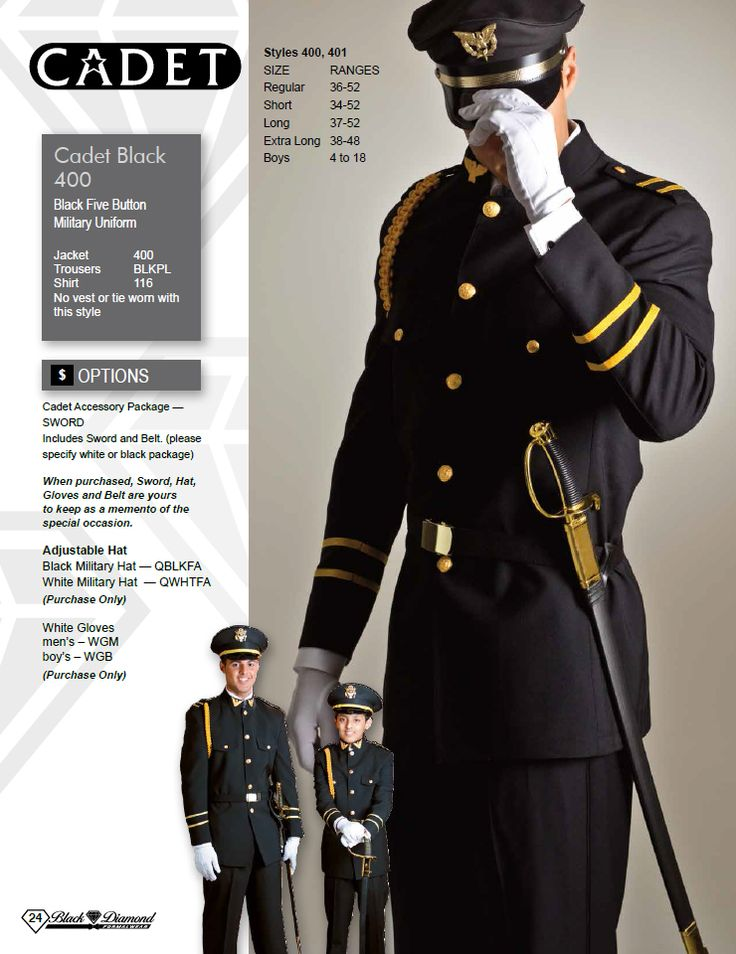 Cadet Black Five Button Military Uniform