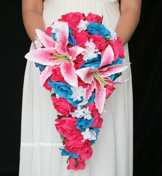 Hot Pink and Turquoise  Wedding Bouquet