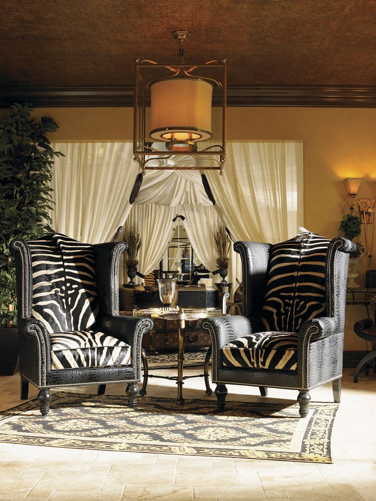 Eye For Design: Decorating With The Wingback Chair, Faux Zebra Wingback  Chairs