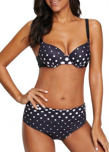 5129e605c Polka Dot Spaghetti Strap Navy Bikini Set