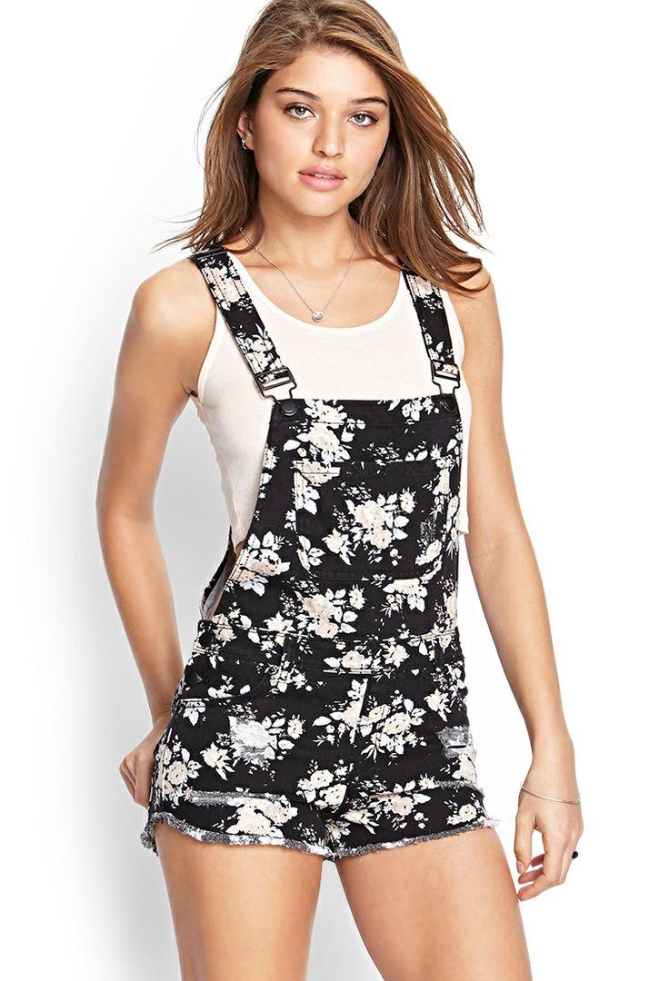 Floral Print Overall Shorts | FOREVER21 #SummerForever #Denim #Overalls
