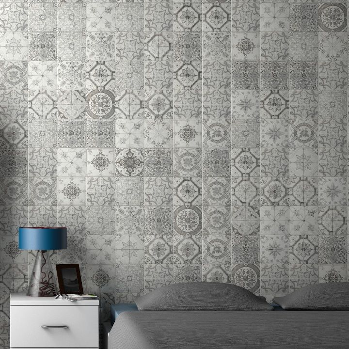 Beautiful grey patchwork tiles in a range of 28 designs. These matt tiles are suitable for decorative floor tiles or wall tiles and are perfect for shabby chic kitchen or bathroom designs. The beauty of this range is that it comes in an array of different patterns and we cannot guarantee which selection of tiles will make up individual orders.