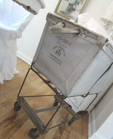 Vintage Laundry Cart Industrial Grey Stoval