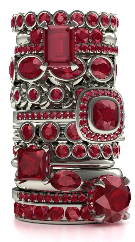 Every girl's dream - A stack of gems :)   Ruby is my birthstone; they look fabulous with the silver