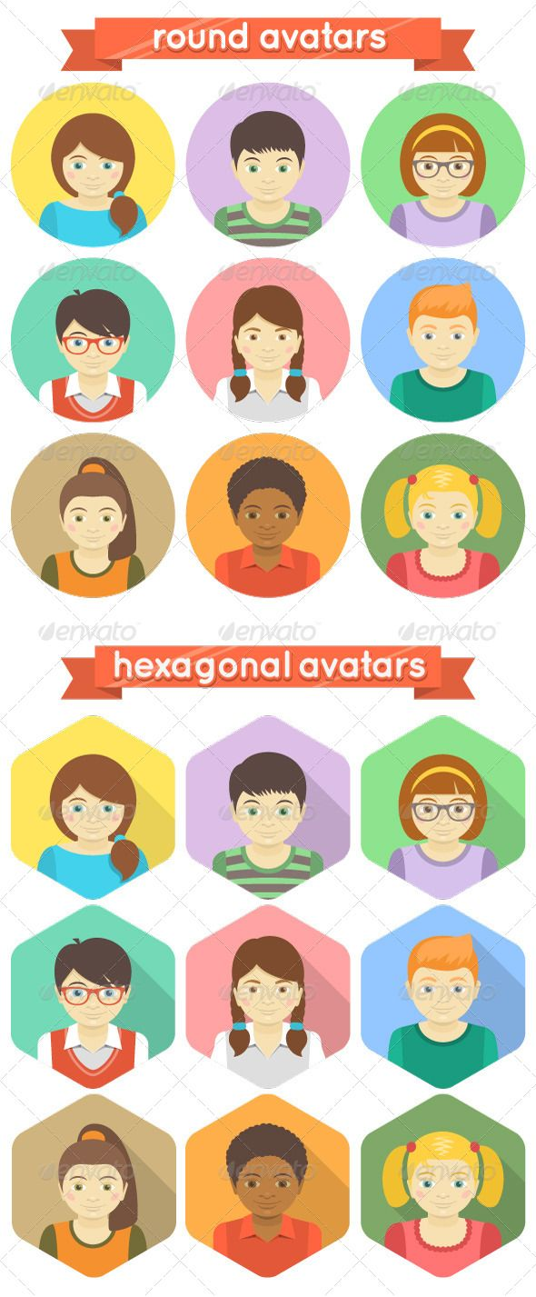 my new vector work 'Kids Avatars' #flat #avatars #kids #children
