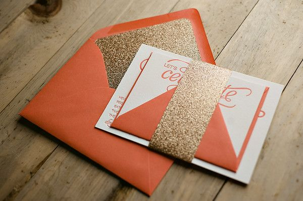 Coral wedding invitations, envelopes with gold glittery liner and belly band