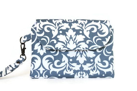 Gray Damask Woman's Wristlet Clutch by Crooked Smile Creations