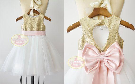 Gouden pailletten ivoor Tule bloemenmeisje jurk Junior bruidsmeisje bruiloft feest jurk/roze BeltF0081