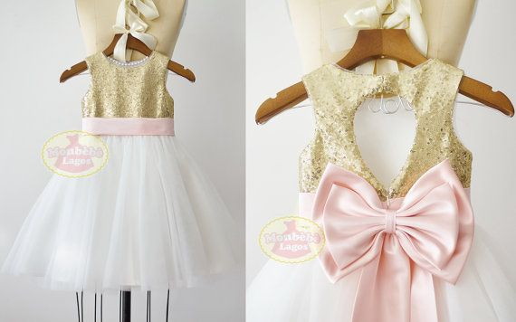❀ Welcome to MonbebeLagos Handmade dress shop ❀ The MonbebeLagos Dress is a pure handmade dress. Gold sequin bodice, fixed blush pink satin sash can