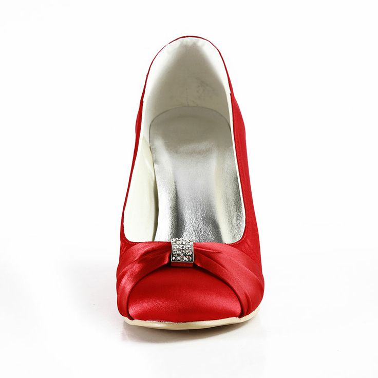 """Style No.B140003,Dyeable Gorgeous 3.5"""" Bowknot Crystal Brooch Peep-toe Wedges - Red Party shoes (11 colors),"""