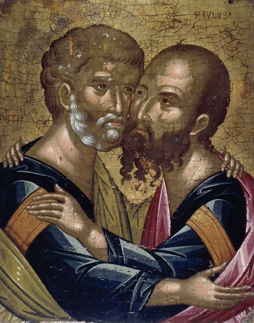 Angelos Akotantos ~ Icon of the Embrace of the Apostles Peter and Paul, c.1436-50