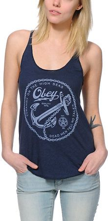 Obey Girls Tranny On High Seas Navy Racerback Tank Top at Zumiez : PDP