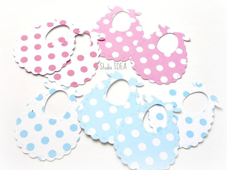 "Pink-White or Light Blue-White Polka Dots  2"" Baby Bib Tags, Favor Tags, Label…"