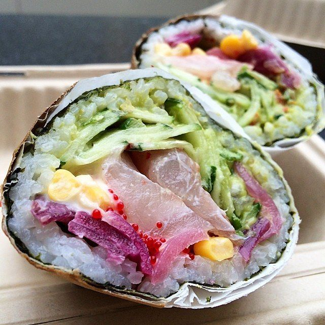 Seriously, God bless whoever came up with the idea of combining sushi and burritos   Photo: Satori Sushi Burrito with Hiramasa Yellowtail, Cucumber, Pickled Red Onion, Sweet Corn, Ginger Guac, Red Tobiko and Wasabi Mayo from @Sushirrito | : @LeaNode |  #WeGotFC #Sushi #Sushirrito #SushiBurrito #SushiLovers #Brilliant