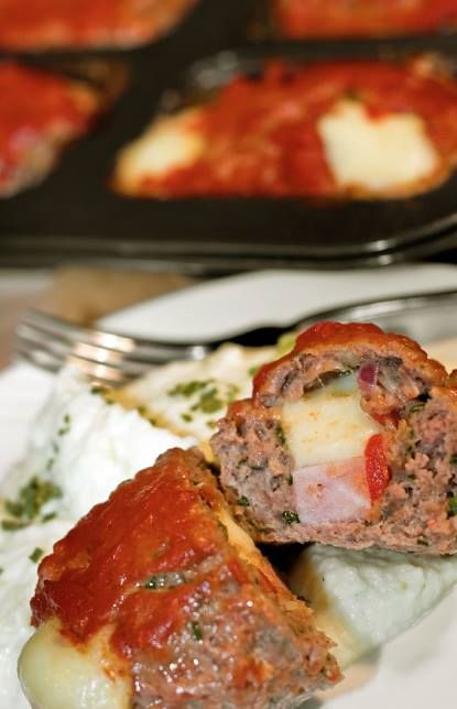 "CLICK PIC  2x for Recipe....  ...Stuffed Meatloaf Minis... ...Recipe by George Stella... ...For tons more Low Carb recipes visit us at ""Low Carbing Among Friends"" on Facebook"
