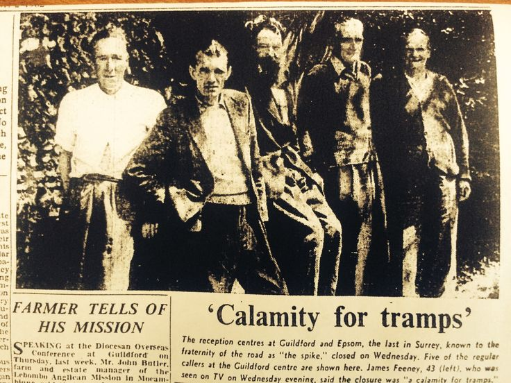 The Spike finally closed as a vagrants hostel in May 1962 and its closure was regretted by many Gentlemen of the Road - especially the group shown here in an article from the Surrey Advertiser.