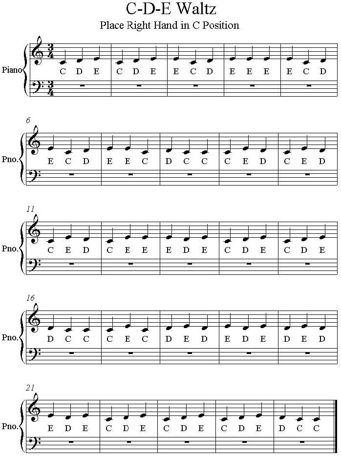 c d e waltz easy piano sheet music is a simple right hand piano finger exercise for beginners to learn music note c d and e in bass and treble clefs