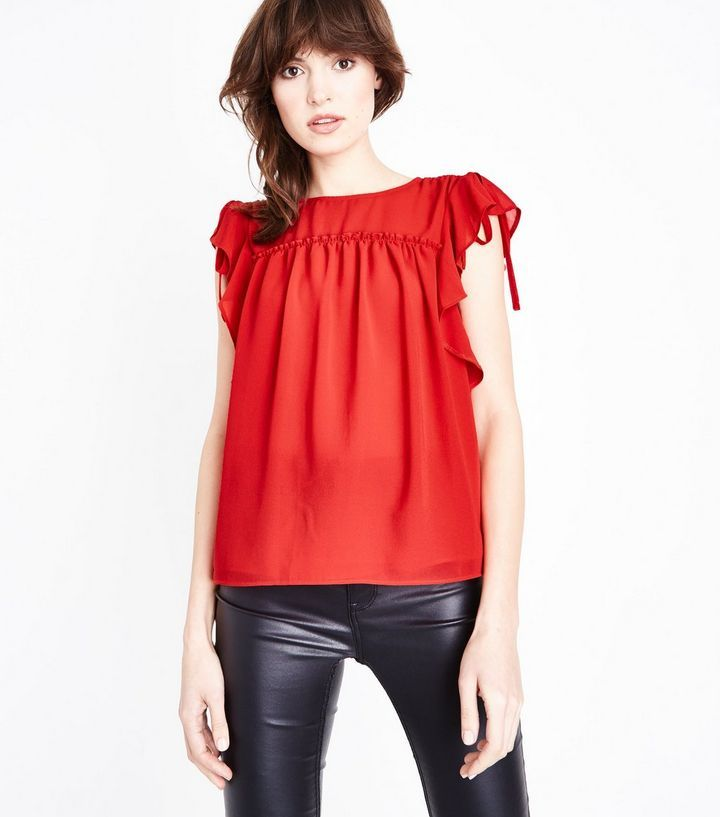 Z2018  Red Ruched Frill Trim Top | New Look
