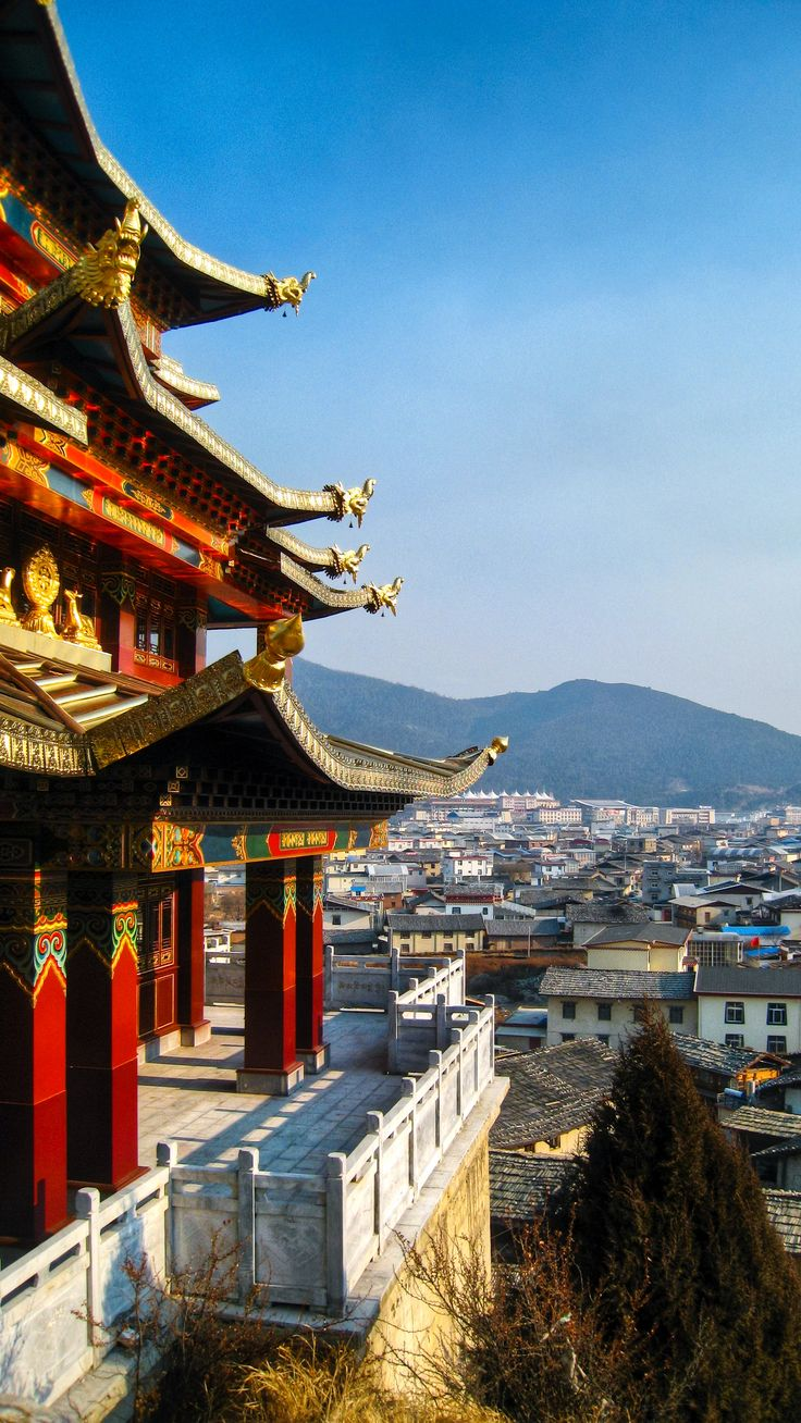 A raised Tibetan temple, looking out over the small township of Shangri-La.