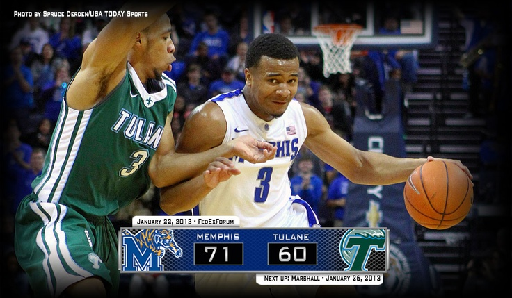 Memphis overcomes its largest deficit of the season after trailing by 15 in the first half, combing back to defeat Tulane 71-60 FedExForum Tuesday night. Tigers win ninth-straight and improve to 15-3 and 4-0 in C-USA. Memphis hosts Marshall on Saturday at 1 pm.