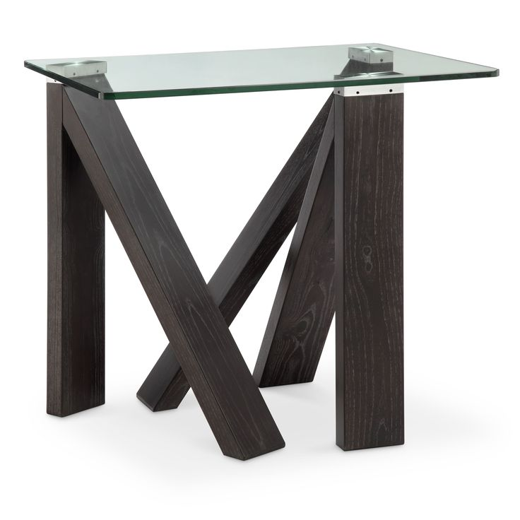 magnussen home furnishings terra alta glass top espresso end table rectangular end table