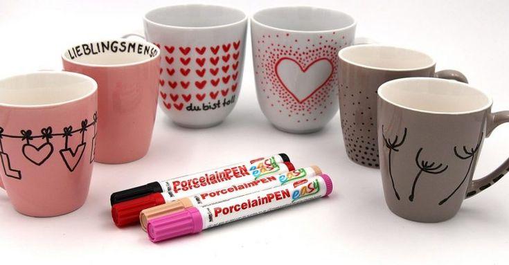 Eine schöne Möglichkeit, sich kreativ auszutoben sind selbst bemalte Porzellantassen. Außerdem eignen sie sich auch gut als Geschenk Idee für die oder den Liebste(n), zum Geburtstag oder zum Valentinstag. Dafür müsst Ihr kein Zeichen-Talent sein...