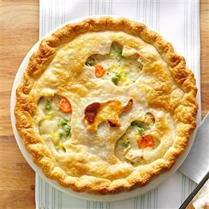 Favorite Chicken Potpie Recipe -Chock-full of chicken, potatoes, peas and corn, this autumn favorite makes two golden pies, so you can serve one at supper and save the other for a busy night. These potpies are perfect for company or a potluck. —Karen Johnson, Bakersfield, California