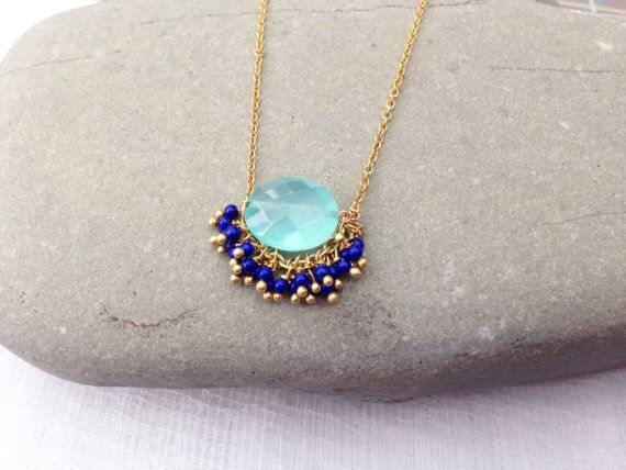 aqua chalcedony and blue lapis fiesta necklace