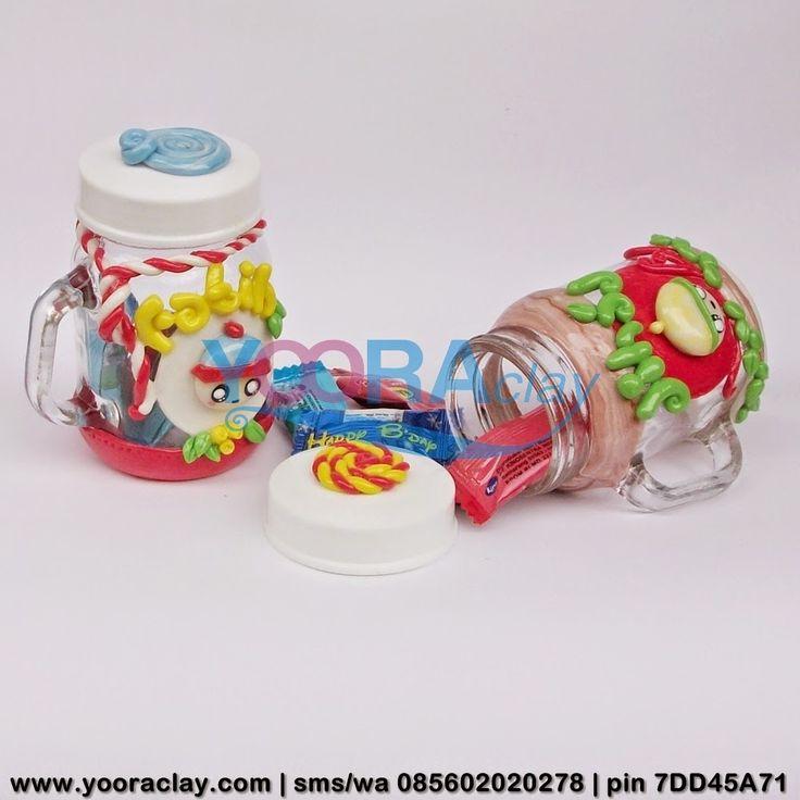 Gelas Mini Fatih-Jihad  Toples/Gelas mini Hias Clay, tinggi rata-rata 10cm, harga tergantung desain, bisa untuk tempat permen, gula/kopi, aksesoris/perhiasan, manik-manik, dll :)