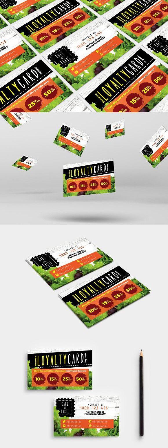 Salad Restaurant Loyalty Card Loyalty Card Design Loyalty Card Template Loyalty Card
