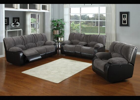 2 Pc Tone Jagger Gray Fabric And Leather Like Vinyl Upholstered Sofa Love Seat
