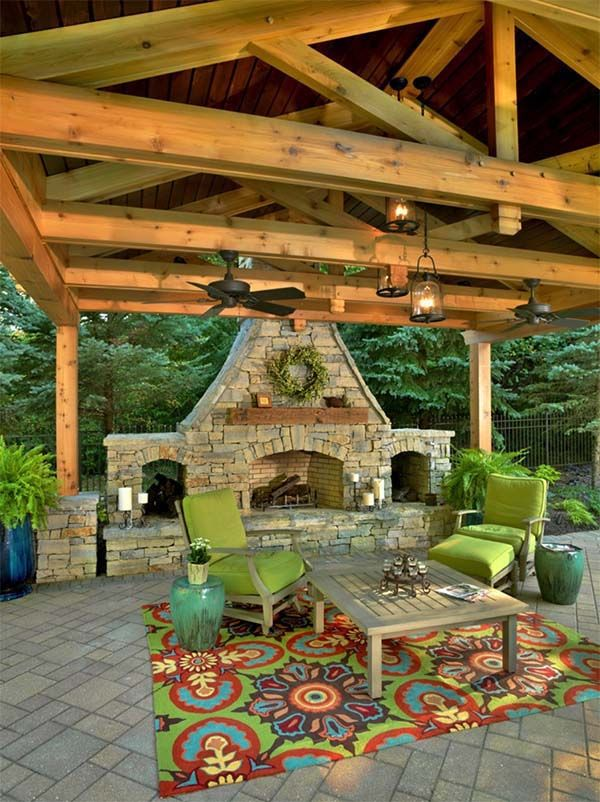 Best 25 outdoor fireplaces ideas on pinterest outdoor for Outdoor living space designs